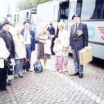 In 1989, about 250 MGVA Veterans and their loved ones visited the Nijmegen area during the 45th anniversary of Operation Market-Garden. The transport from Flushing to Nijmegen took place by train and the program that week was organized in co-operation with the city of Nijmegen, the Nijmegen tourist Centre and neighbouring towns. All guests were accommodated with host families and the main assembly point was next to the Nijmegen railway station where this photo was taken. The photo reads from left to right, Mr and Mrs Ray Picton, Mr and Mrs Ron Wingfield, Maud Sear, Afke and Maud Been and Dennis Sear. Saturday, 16th September 1989, 10.00 hrs.