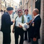 "In the streets behind the Nijmegen Casino. Old ""friends"" meet again. I still remember the conversation which took place between Dennis Sear and his cousin John and the two American 505 PIR Veterans. Sunday, 17th September 1989, 15.30 hrs."
