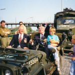 "The riverside (Waalkade) at Nijmegen with army vehicles from World War Two of the ""Keep them Rolling"" organization. Sunday, 17th September 1989, 16.00 hrs."