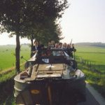 The Battle field tour at the Derde Baan near Groesbeek. In the Dukw, Dennis Sear with his bag of acid drop. Monday, 18th September 1989, 16.00 hrs