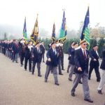 The marching off after the dedication of the standards. Wednesday, 18th September 1991, 09.30 hrs. The Hosted Lunch at the dining-hall of Limos brightened by piper Bill Bradey and his two drum ladies. Wednesday, 18th September 1991, 12.30 hrs.