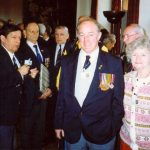 Photo taken during the reception in the Nijmegen town-hall. The photo reads from left to right, David Dobson, John A. Coster M.M., Jan van Bernebeek and our guests Ken and Ann Jones from Widnes. Thursday, 30th April 1992, 14.00 hrs.