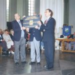 The presentation of the MGVA plaque at the St.Stevens church by Charles Reeves to Burgomaster d'Hond of Nijmegen during the Annual General Meeting. Thursday, 15th September 1994, 09.45 hrs.