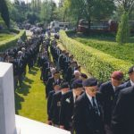 The arrival at the Mook War Cemetery for the memorial service. Thursday, 4th May 1995, 10.00 hrs.