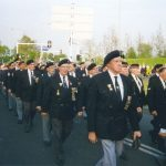 The parade of Market-Garden Veterans at the Traianus Square in Nijmegen after the ceremony. In the middle Len Hill the MGVA Regalia Secretary from Gosport, U.K. Friday, 5th May 1995, 21.00 hrs