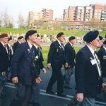 The parade of Market-Garden Veterans at the Traianus Square in Nijmegen after the ceremony. In the middle Captain Eric Briggs from Sutton Coldfield, U.K. Friday, 5th May 1995, 21.00 hrs.