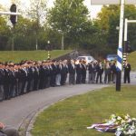 Line up for the commemoration at the Trianus square. Thursday, 16th September 1999, 19.00 hrs.