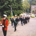 The Hemel Hempstead branch and the 'Schutterij' entering the church at Beek. Friday, 17th September 1999, 19.00 hrs.