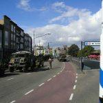 Line up of historical vehicels for the final 'capture' of Nijmegen Bridge. Sunday, 19th September 2004, 13.00 hrs.