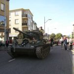An American tank advances for the Waalbridge in the Burchtstraat. Sunday, 19th September 2004, 14.30 hrs.