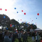 The dropping at Overasselt. Balloons to commemorate the 65th birthday of Operation Market-Garden by school children. Friday, 18th September 2009, 11:43 hrs.