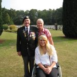 The commemoration at the Jonkerbos War Cemetery at Nijmegen. Charles Reeves, Maud Been and Afke Been (in the wheelchair). Saturday, 19th September 2009, 15:29 hrs.