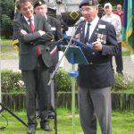 Presentation of the standards at the Liberation museum at Groesbeek. Unveiling listening location 39. Presentation of the Market-Garden shield with AGM locations to the museum by Arthur Rose. Saturday, 17th September 2011, 13:05 hrs.