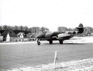 Gloster Meteor at B-91. RAF Museum Photograph, REF No. 6048-4. Reproduction forbidden without prior consent from photographic section RAF MUSEUM HENDON LONDON NW9 5LL, Tel No. 020 8205 2266.
