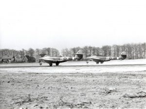 Gloster Meteors at B-91. RAF Museum Photograph, REF No. 6048-1. Reproduction forbidden without prior consent from photographic section RAF MUSEUM HENDON LONDON NW9 5LL, Tel No. 020 8205 2266.