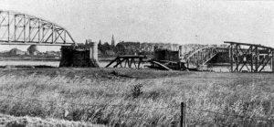 Mook. Railway bridge across the river Maas