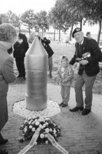 """Groesbeek. Remembrance stone at """"Wylerbaan / Derde Baan"""""""