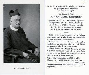 Bidprentje van R.P. Hermanus van Driel