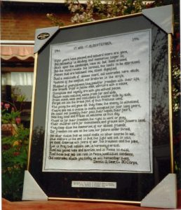 The poem which was presented to the Mayor of Nijmegen