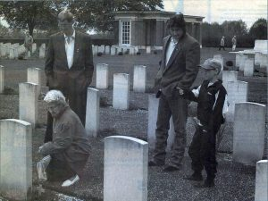 At the headstone of Reg Robbins at the Canadian War Cementery at Groesbeek